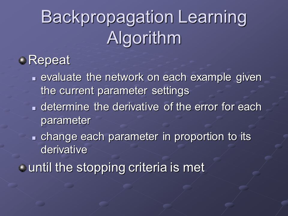 Backpropagation Learning Algorithm