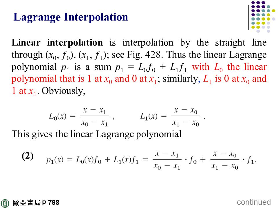lagrange interpolation formula example pdf