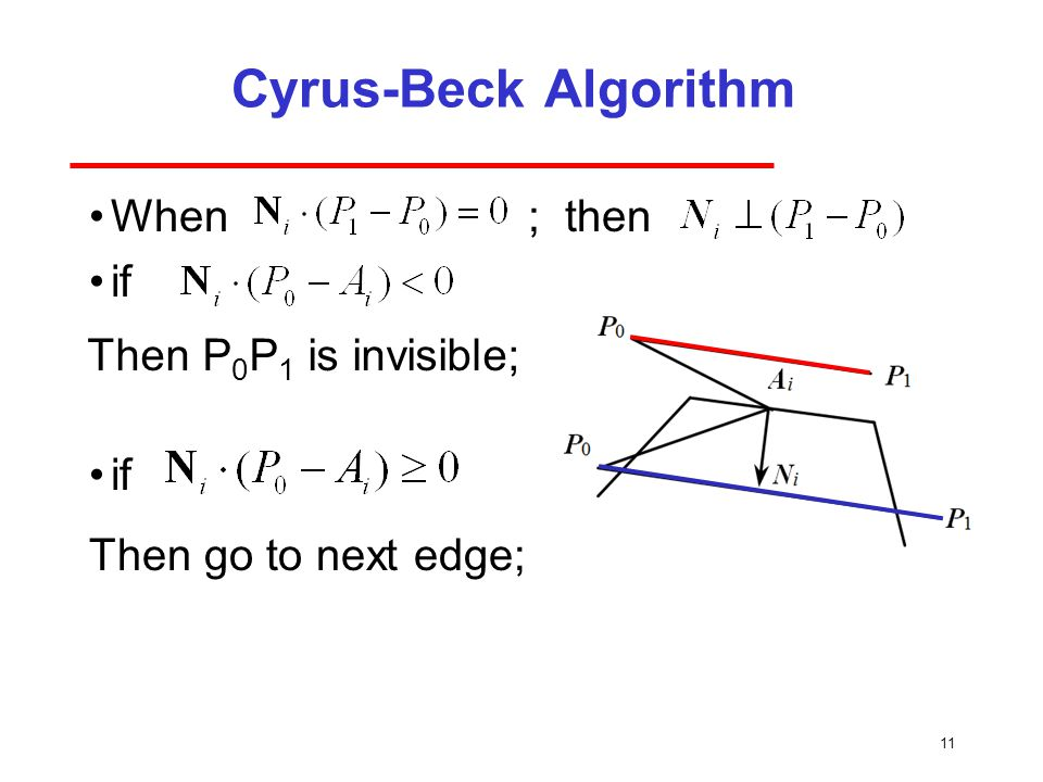 Cyrus-Beck Algorithm When ; then if Then P0P1 is invisible;