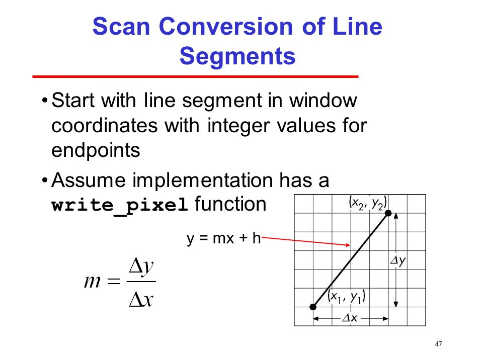 Scan Conversion of Line Segments