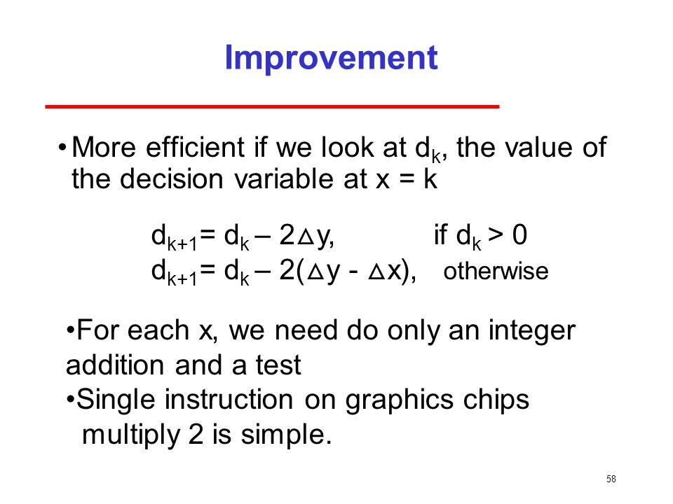Improvement More efficient if we look at dk, the value of the decision variable at x = k. dk+1= dk – 2△y, if dk > 0.