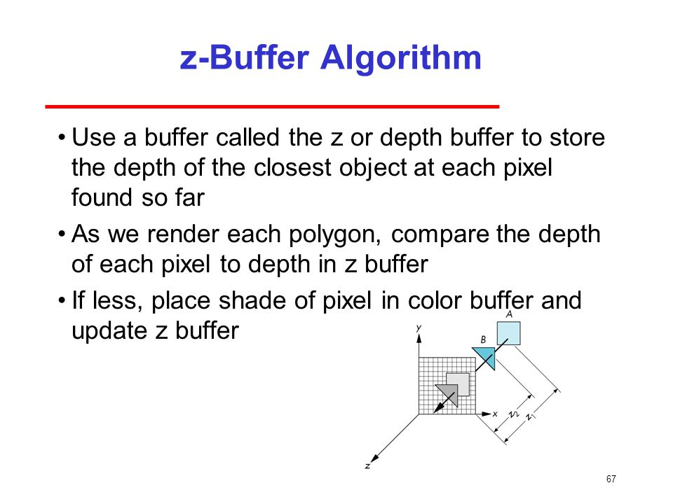z-Buffer Algorithm Use a buffer called the z or depth buffer to store the depth of the closest object at each pixel found so far.
