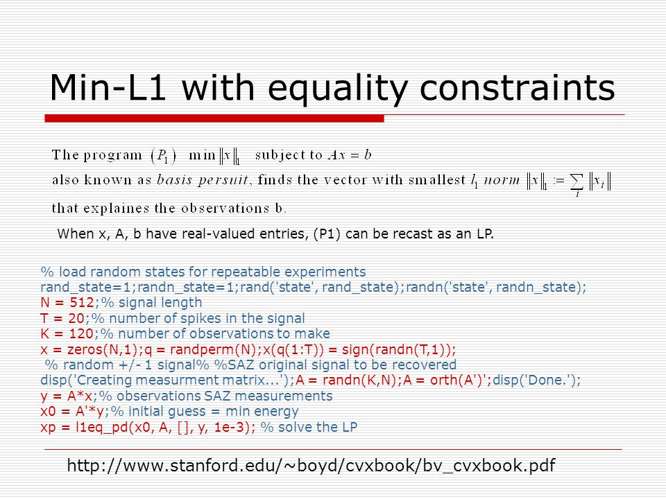 Min-L1 with equality constraints