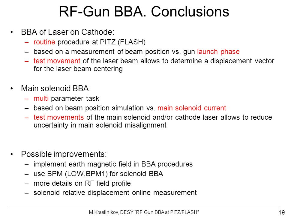 RF-Gun beam based alignment at PITZ/FLASH - ppt video online download