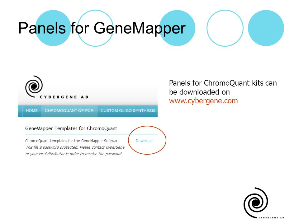 Panels for GeneMapper Panels for ChromoQuant kits can be downloaded on www.cybergene.com
