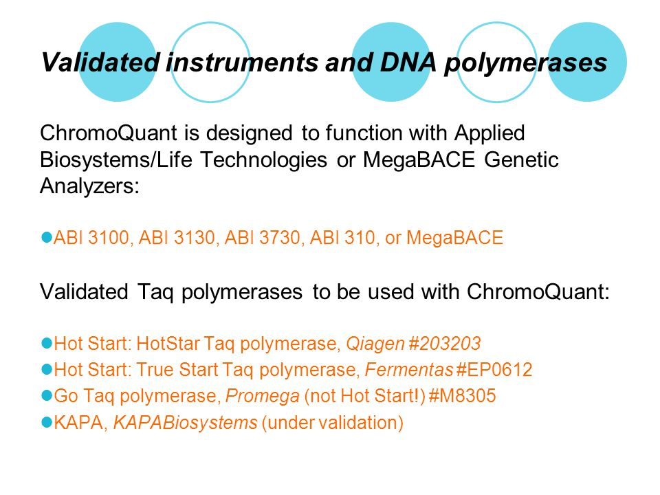 Validated instruments and DNA polymerases