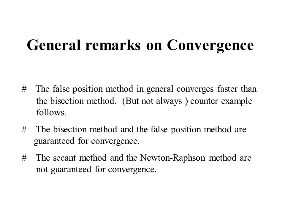 General remarks on Convergence