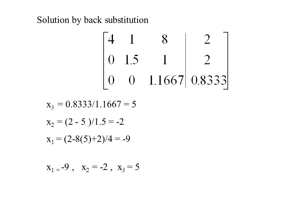 Solution by back substitution