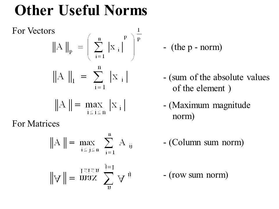 Other Useful Norms For Vectors - (the p - norm)