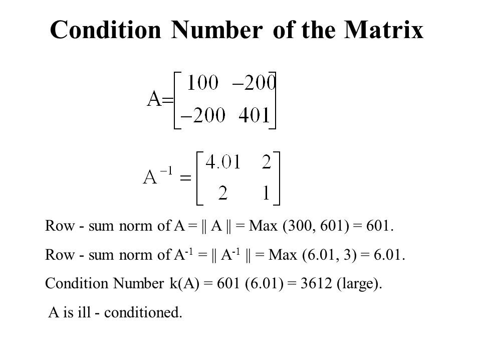 Condition Number of the Matrix
