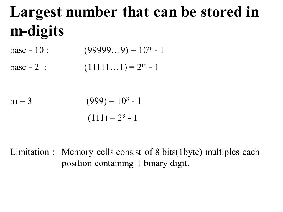Largest number that can be stored in m-digits