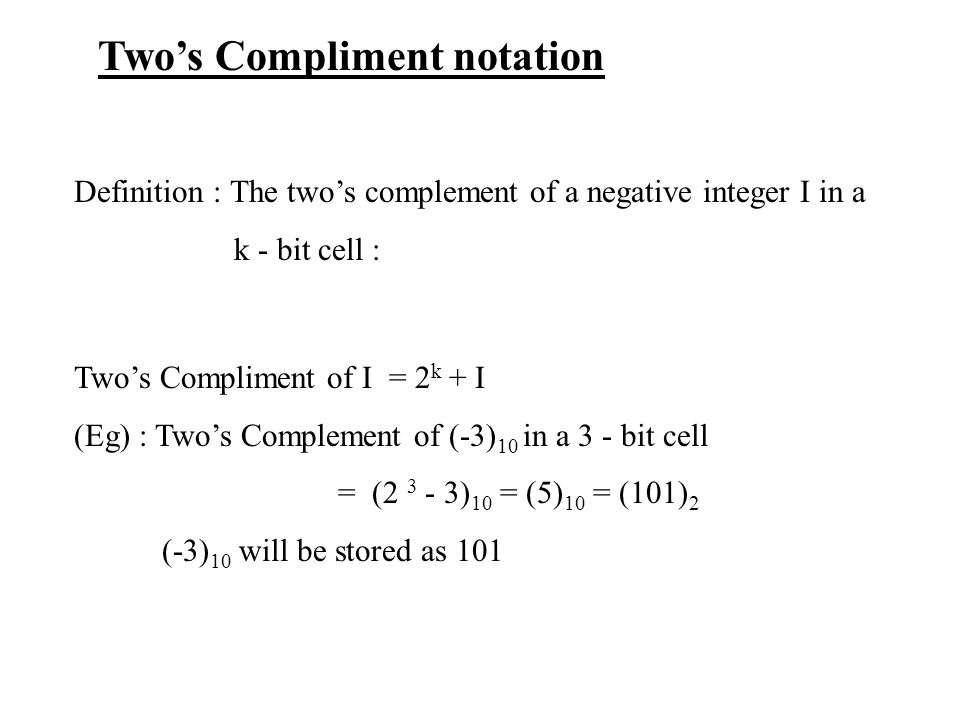 Two's Compliment notation