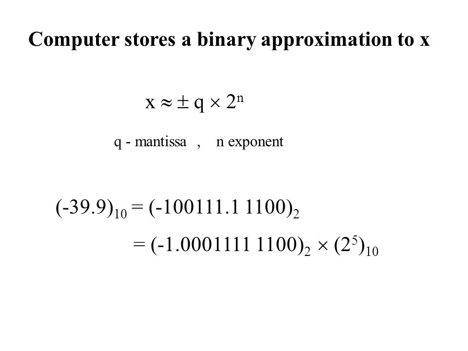 Computer stores a binary approximation to x