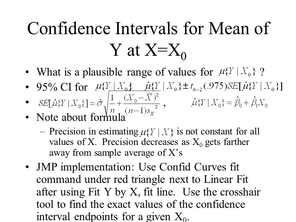 Confidence Intervals for Mean of Y at X=X0