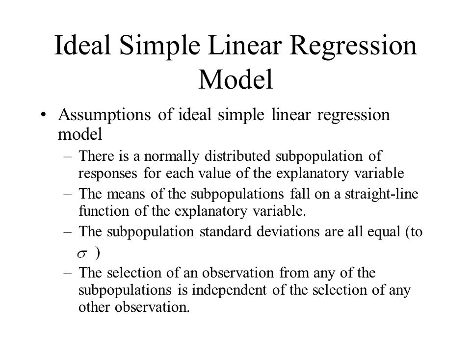 Ideal Simple Linear Regression Model