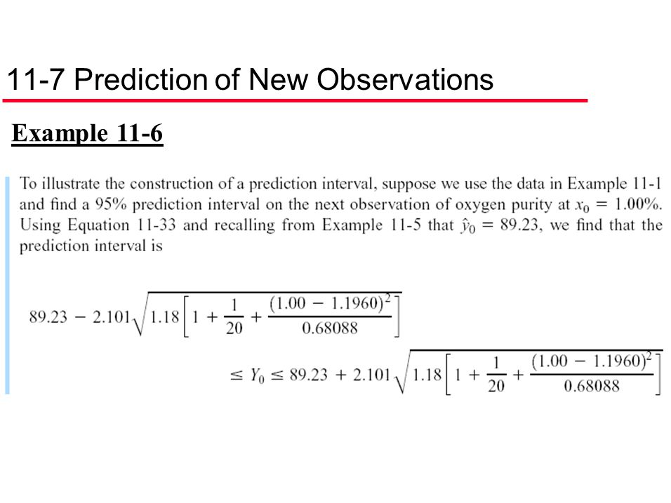 11-7 Prediction of New Observations
