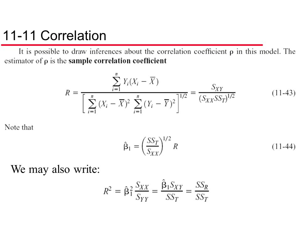 11-11 Correlation We may also write: