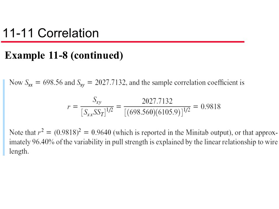 11-11 Correlation Example 11-8 (continued)