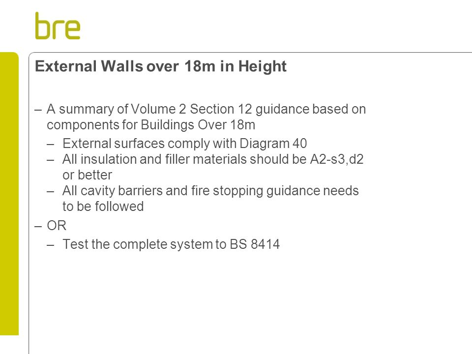 External Walls over 18m in Height