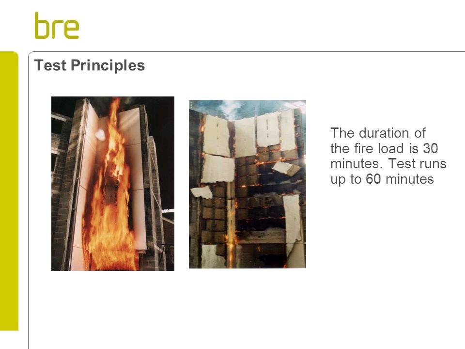 Test Principles The duration of the fire load is 30 minutes. Test runs up to 60 minutes