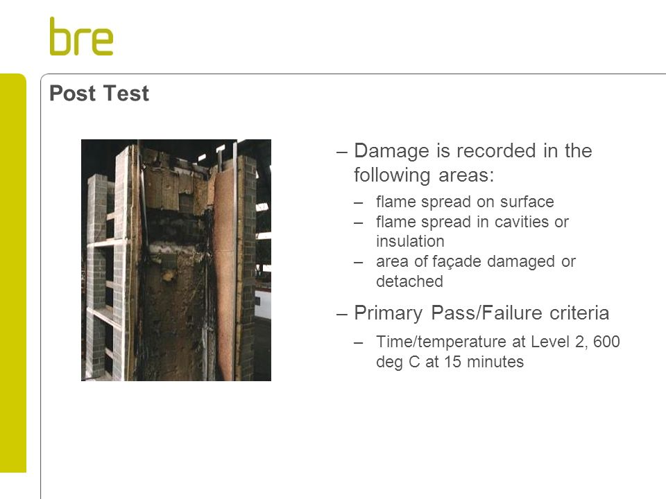 Post Test Damage is recorded in the following areas: