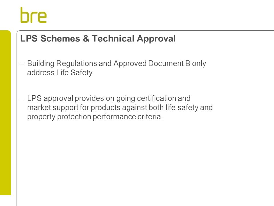 LPS Schemes & Technical Approval