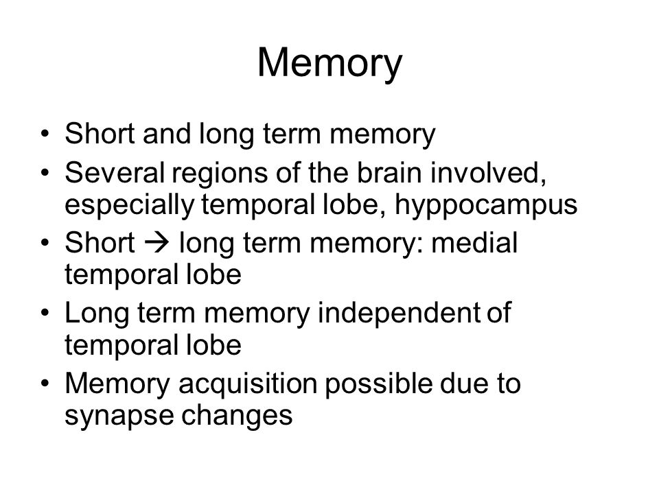 Memory Short and long term memory