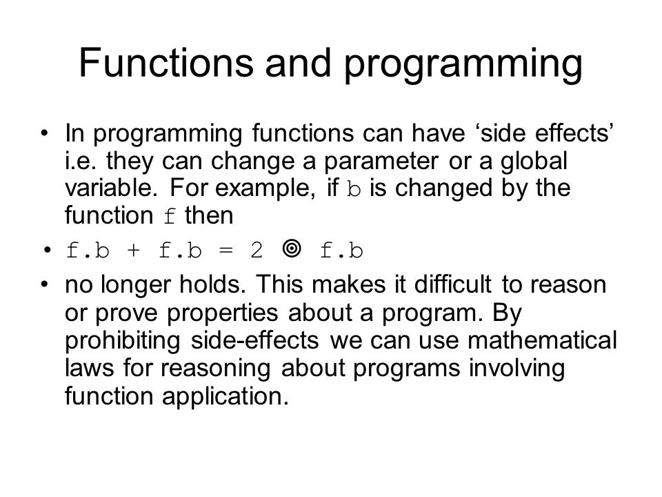 Functions and programming
