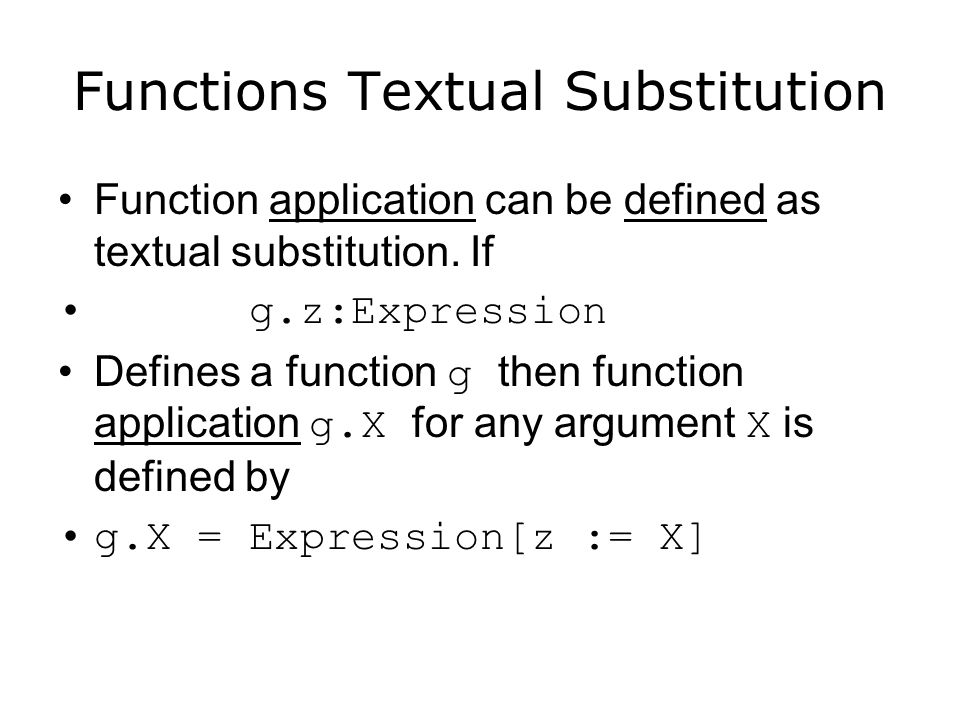 Functions Textual Substitution
