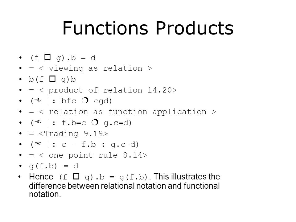 Functions Products (f  g).b = d = < viewing as relation >