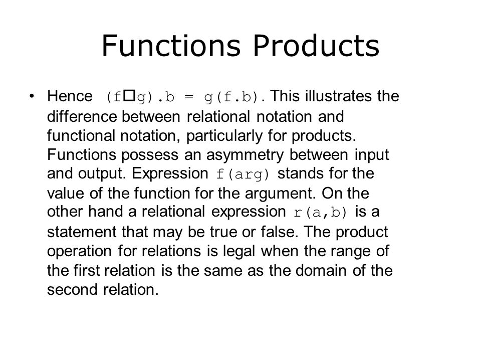 Functions Products