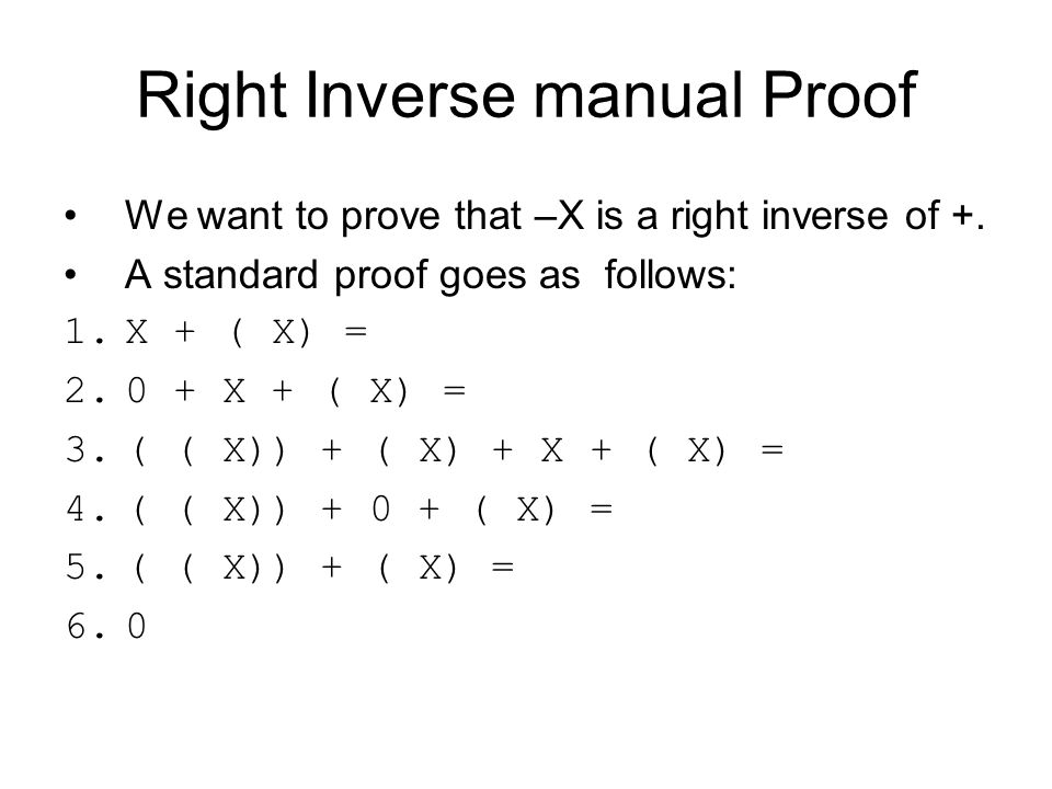 Right Inverse manual Proof