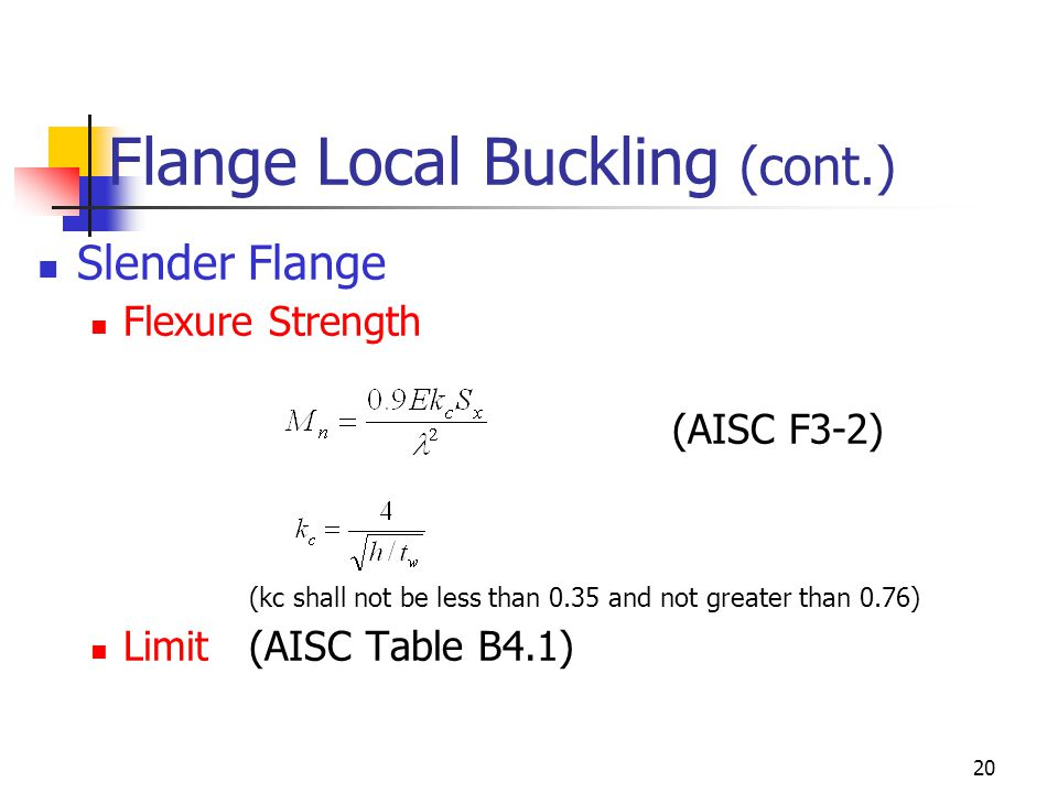 Flange Local Buckling (cont.)