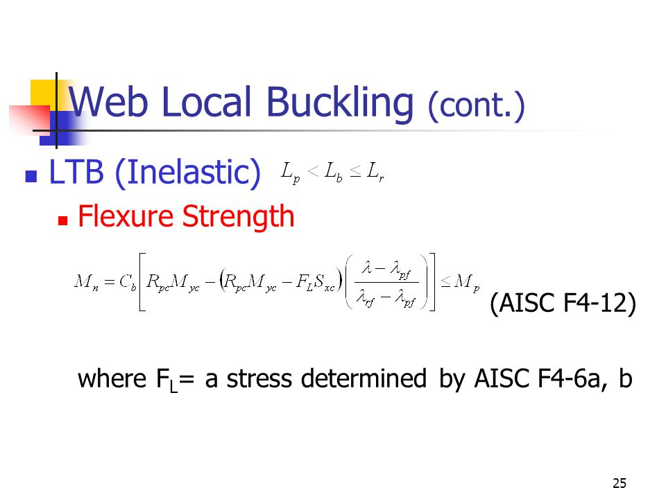 Web Local Buckling (cont.)