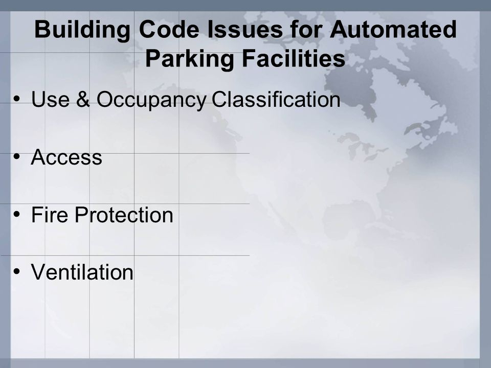 Building Code Issues for Automated Parking Facilities