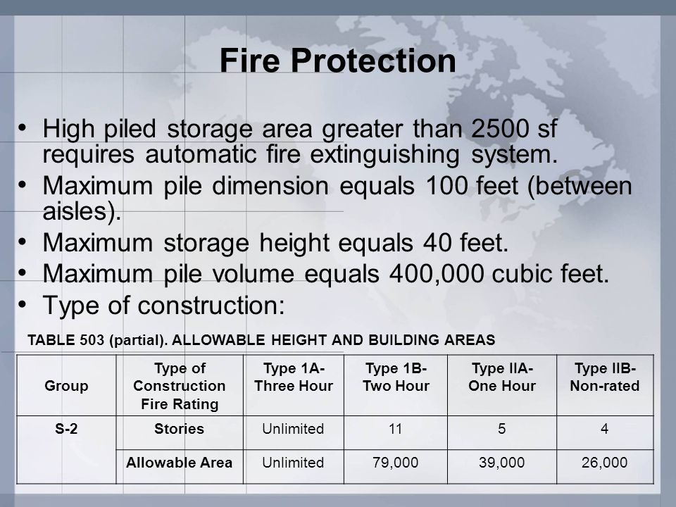 Fire Protection High piled storage area greater than 2500 sf requires automatic fire extinguishing system.