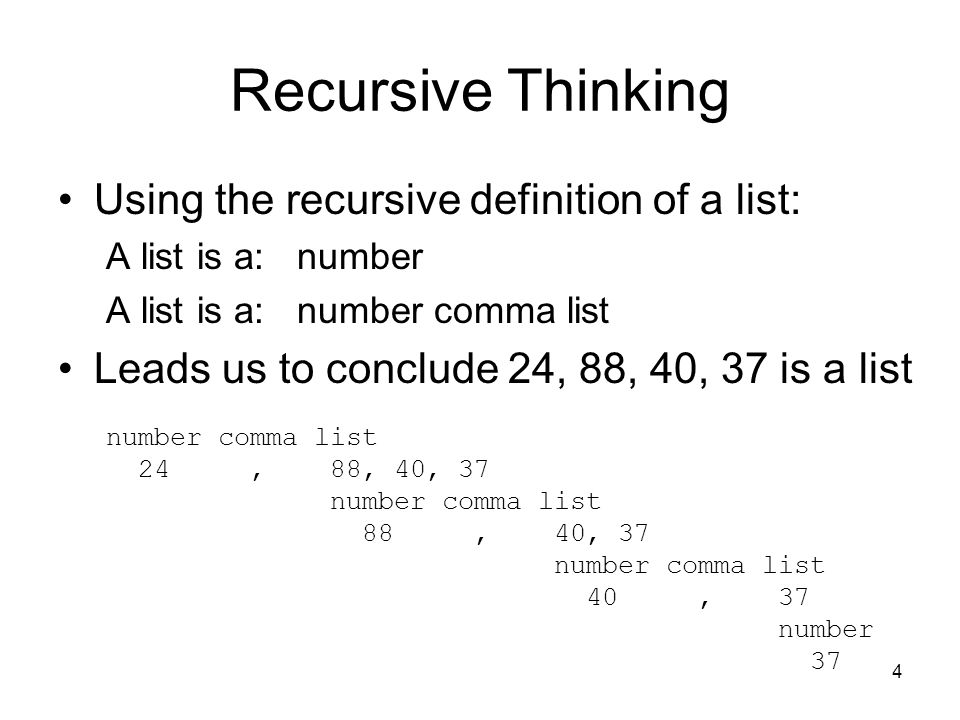 Recursive Thinking Using the recursive definition of a list:
