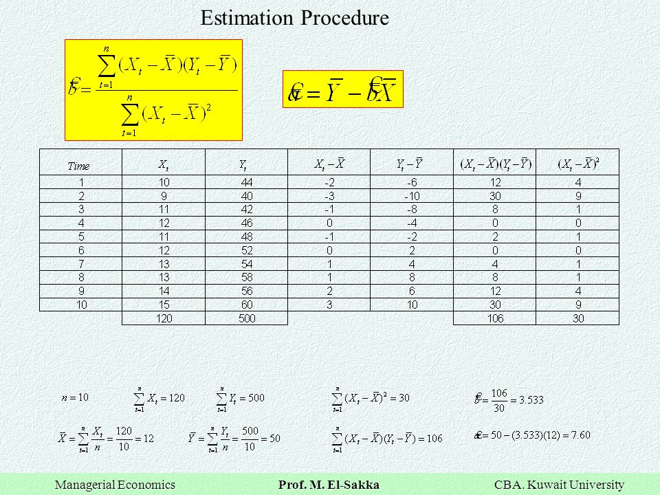 Estimation Procedure