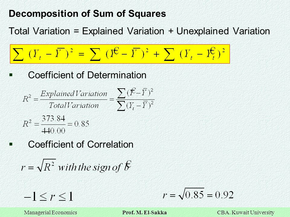 Decomposition of Sum of Squares