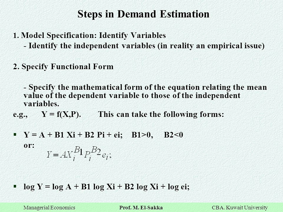 Steps in Demand Estimation