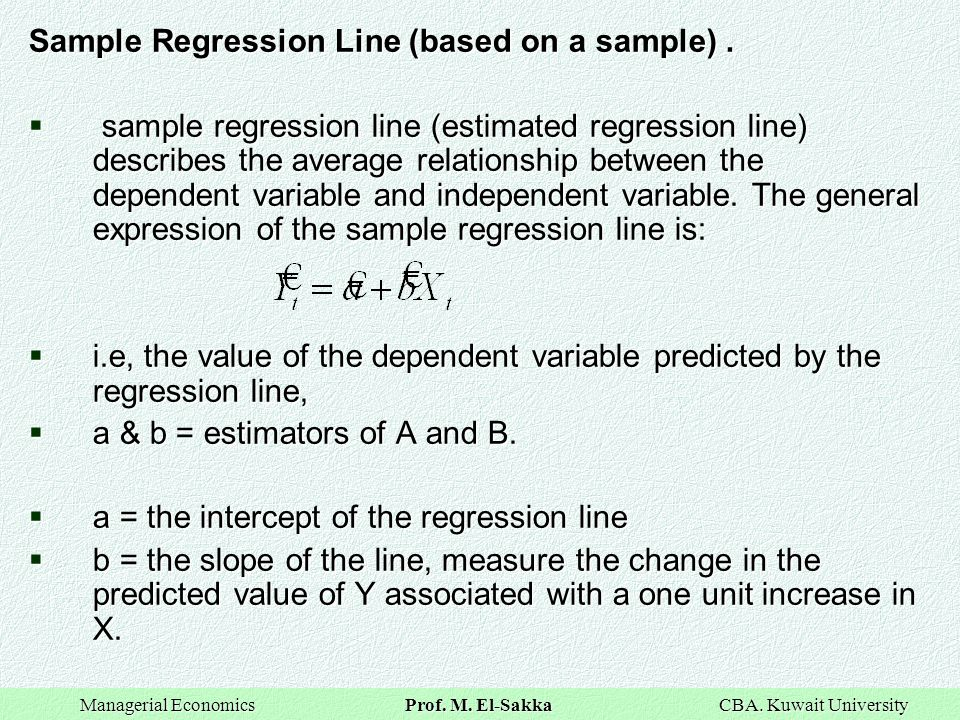 Sample Regression Line (based on a sample) .