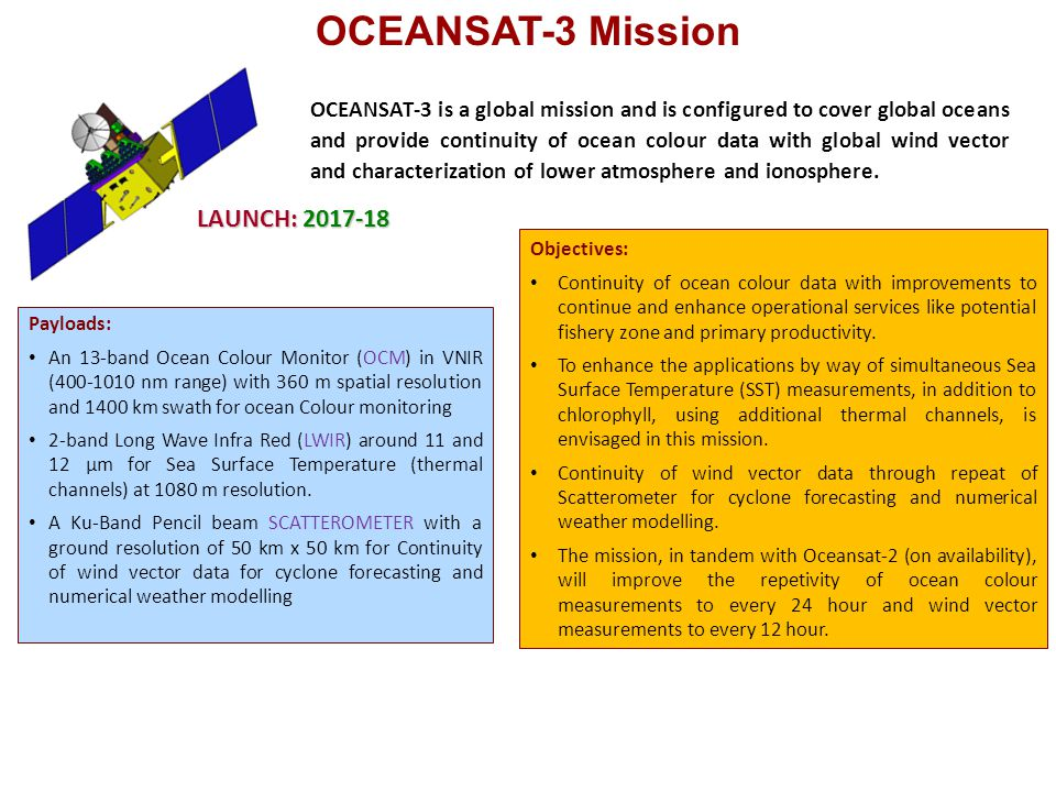 OCEANSAT-3 Mission LAUNCH: 2017-18