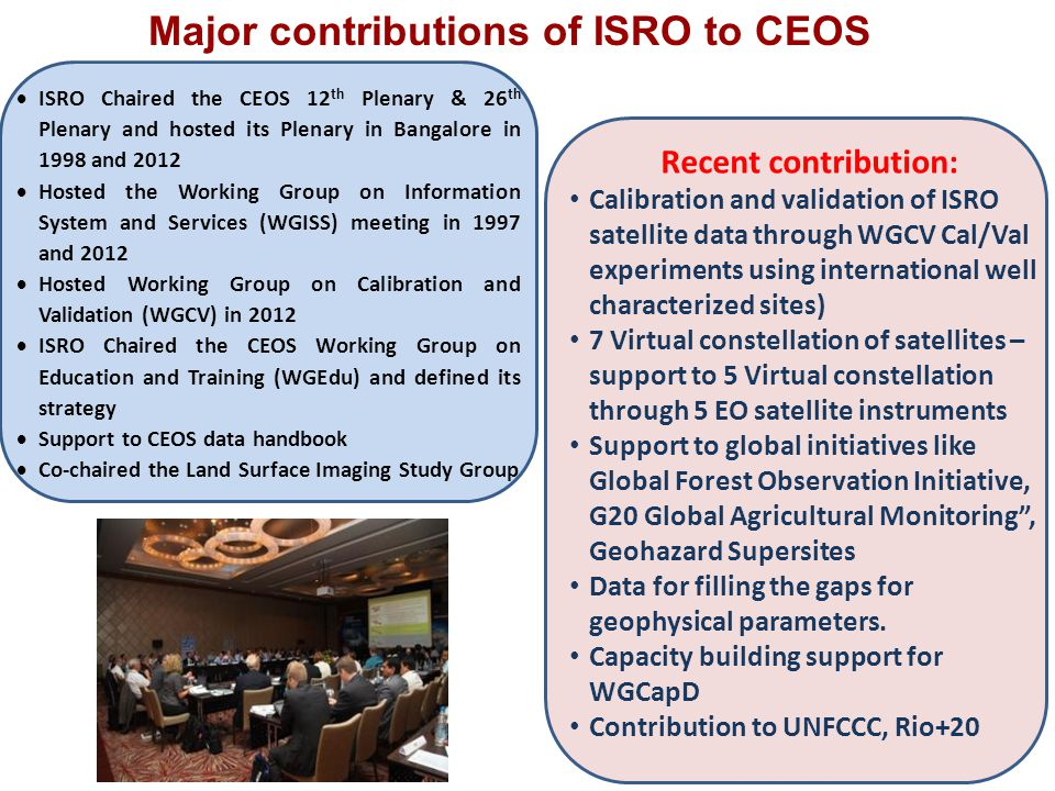 Major contributions of ISRO to CEOS