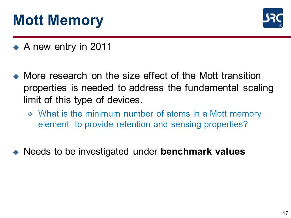 Mott Memory A new entry in 2011