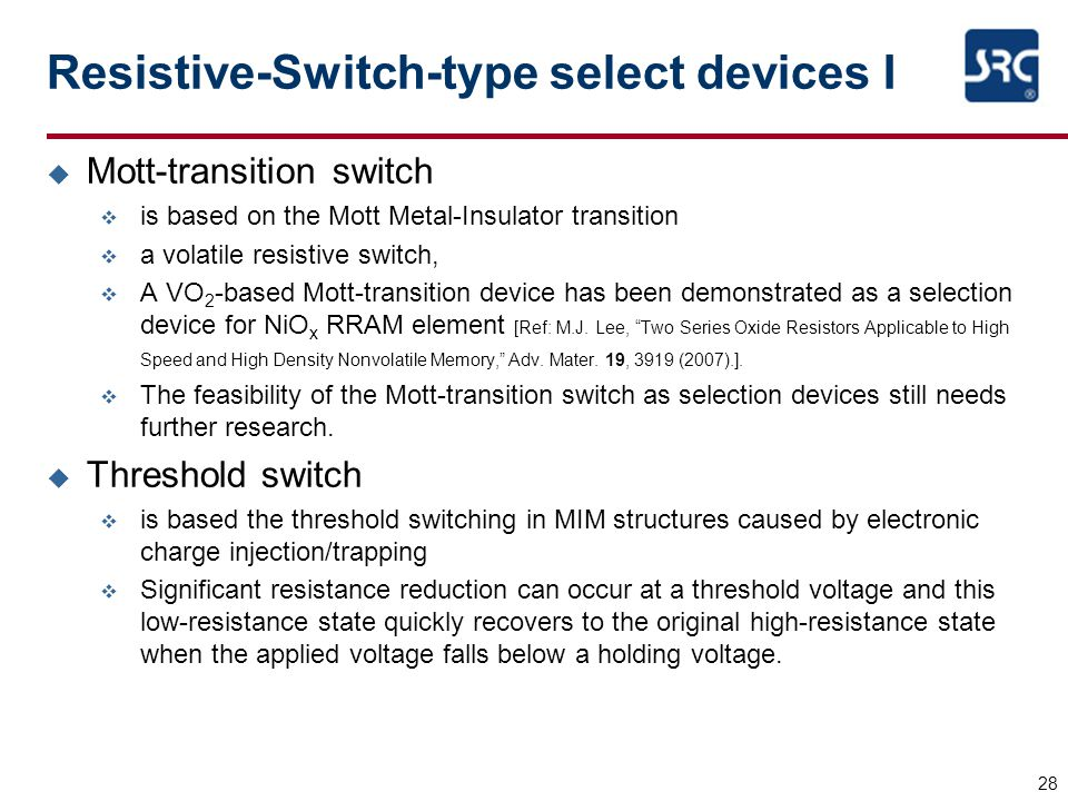 Resistive-Switch-type select devices I