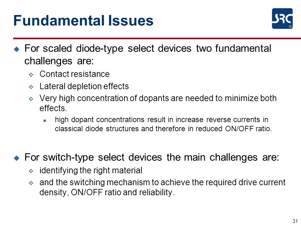 Fundamental Issues For scaled diode-type select devices two fundamental challenges are: Contact resistance.