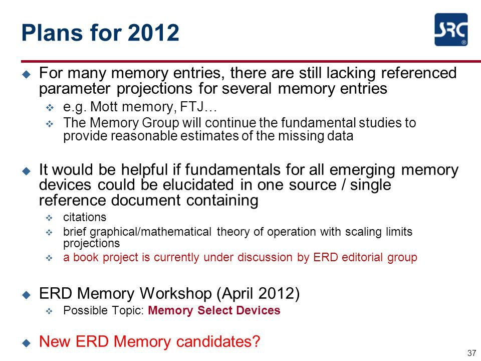 Plans for 2012 For many memory entries, there are still lacking referenced parameter projections for several memory entries.