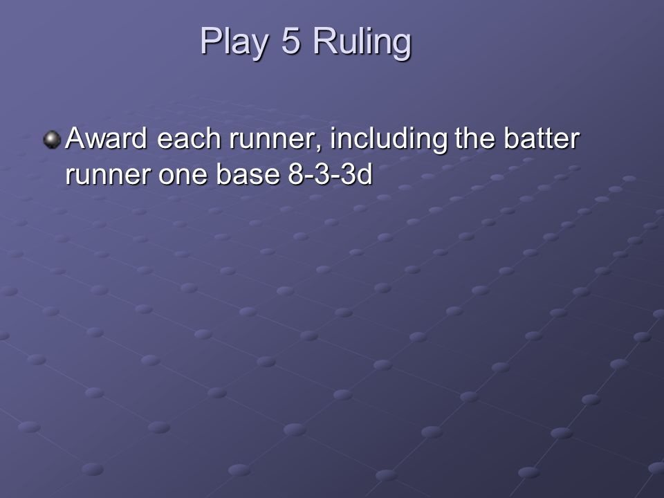 Play 5 Ruling Award each runner, including the batter runner one base 8-3-3d