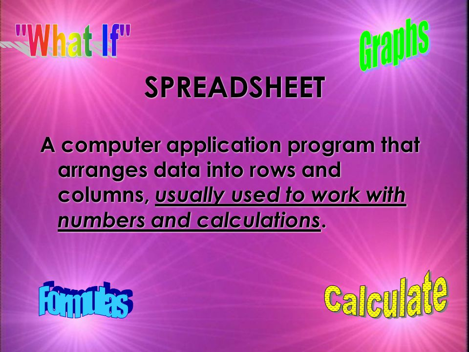 SPREADSHEET Graphs What If Calculate Formulas