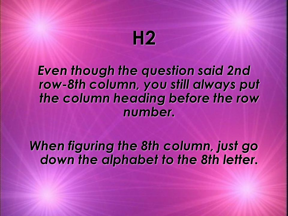 H2 Even though the question said 2nd row-8th column, you still always put the column heading before the row number.